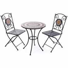 Conjunto de mosaico: mesa y 2 sillas de metal pintado con un patrón de mosaico de un jardín al aire libre